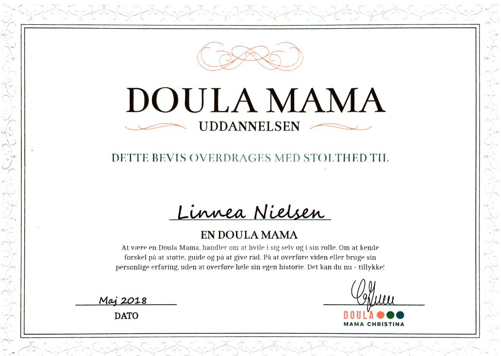 Doula Mama certifikat 2018